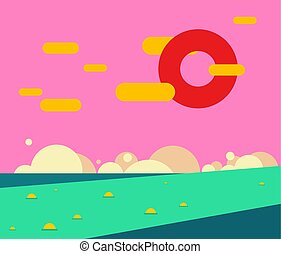 Fantastic landscape. Abstract nature. Unusual sunset. Vector illustration