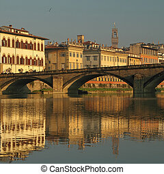 fantastic landscape of Florence with Arno river and ...