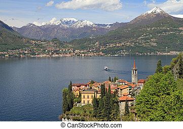 fantastic landscape of Lake Come with Varenna village in the...