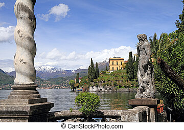seen from gardens of Villa Monastero, Varenna, Lombardy, Italy, Europe