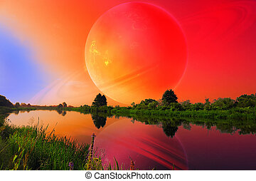 Fantastic Landscape with Large Planet over Tranquil River -...