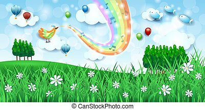Fantastic landscape with meadows, bird, music and rainbow colors