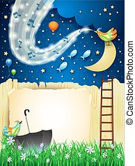 Fantastic landscape with music, bird, stairway and wave of sparkles