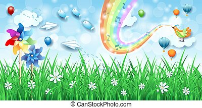 Fantastic landscape with pinwheels, bird, music and rainbow colors