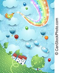 Fantastic landscape with tree, bird, music and rainbow colors