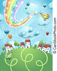 Fantastic landscape with village, music, bird and rainbow colors