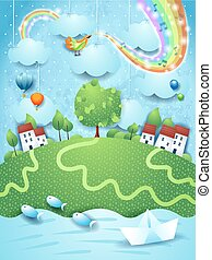 Fantastic landscappe with music, bird and rainbow colors