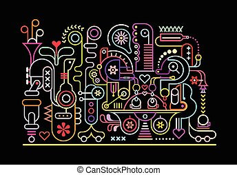 Fantastic Machine - Neon colors on a black background...
