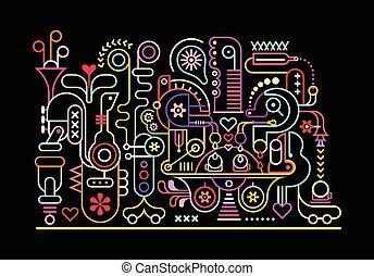 Fantastic Machine - Neon colors on a black background...