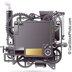 Fantastic machine - vector isolated image of the complex...