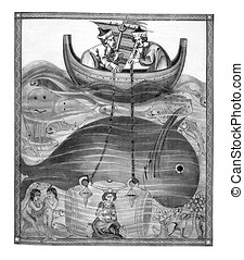 medieval representation of sea depth