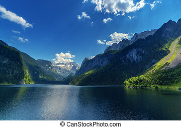 Gosausee - Fantastic morning on mountain lake Gosausee,...