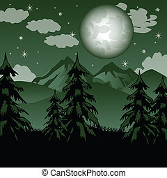Fantastic mountain landscape - Vector illustration to nights...