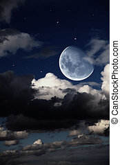Fantastic night landscape with the big moon