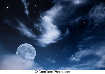 night landscape with the moon, clouds and stars