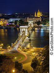 Fantastic night view of Budapest. Chain bridge across the Danube and the church of St. Stephen