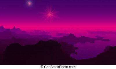 Fantastic planet. Falling stars.