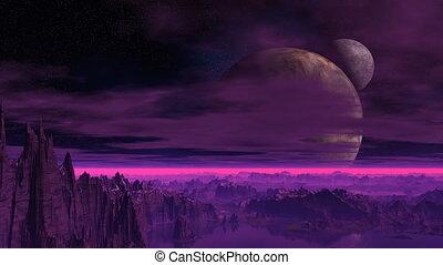 Fantastic planet. Two moon.