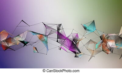 Fantastic plexus animation with modern triangles on color ...