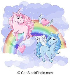 Fantastic postcard with Pegasus and Unicorn, rainbow and...