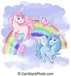 Fantastic postcard with Pegasus and Unicorn, rainbow and...
