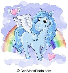 Fantastic postcard with Pegasus, rainbow and hearts with...