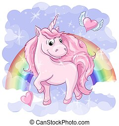 Fantastic postcard with Unicorn, rainbow and hearts with wings.