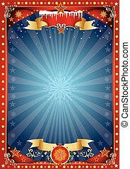 Fantastic red and blue christmas poster