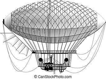 Fantastic retro dirigible - Fictional retro dirigible with ...
