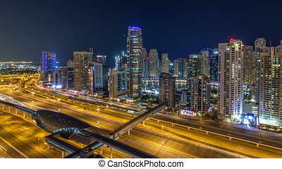 Fantastic rooftop skyline of Dubai marina timelapse....