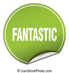 fantastic round green sticker isolated on white