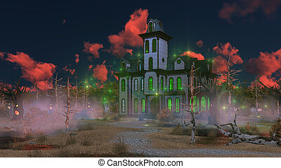 Fantastic scary mansion at mystical sunset