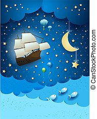Fantastic seascape with flying ship and hanging moon