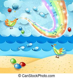 Fantastic seascape with music, bird and rainbow colors