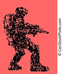 Fantastic soldier aims from plasma rifle. Vector illustration.