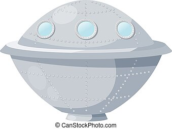Fantastic spacecraft - UFO - on a white background. Vector illus