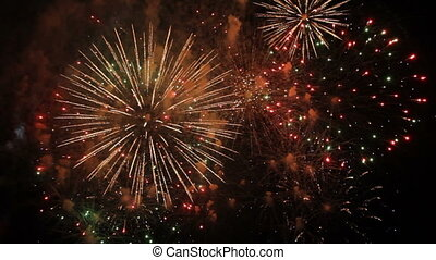 Fantastic Spectacular Fireworks On Black Background in Slow...