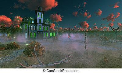 Fantastic spooky mansion at misty dusk