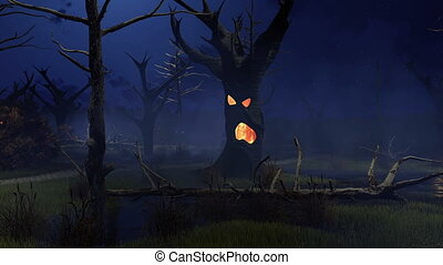 Sinister scenery with fantastic spooky trees on the creepy swamp at dark misty night. Decorative Halloween 3D animation rendered in 4K, ultra high definition.