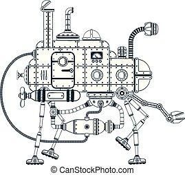 Fantastic steampunk self-propelled machine