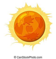 Fantastic sun planet, icon cartoon style, vector isolated for games, applications on white background