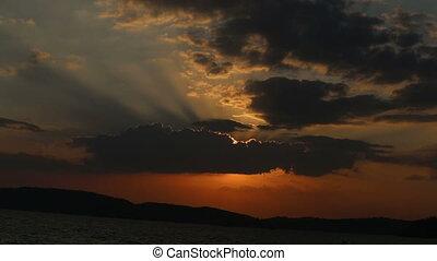 fantastic sunset above sea under acceleration