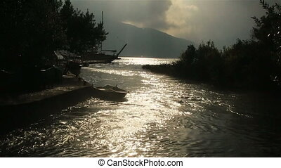 Fantastic sunset on the river in Montenegro, Budva