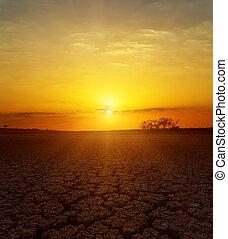 fantastic sunset over desert