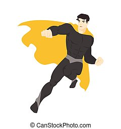 Fantastic superhero flying. Man with muscular body wearing ...