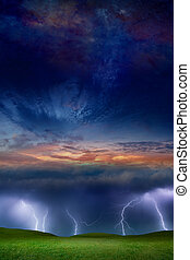 Fantastic supernatural collage - lightnings in stormy sky, green grass hills, glowing sunset and starry space
