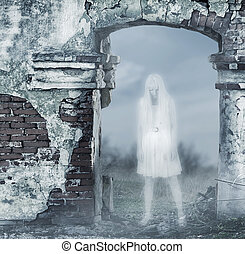Fantastic transparent white woman ghost