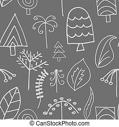 Fantastic trees and foliage vector seamless pattern