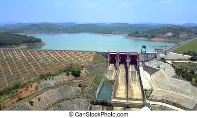 upper view large concrete overflow weir - fantastic upper...