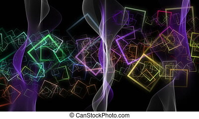 Fantastic video animation with color changing wave object in motion and squares, loop HD 1080p